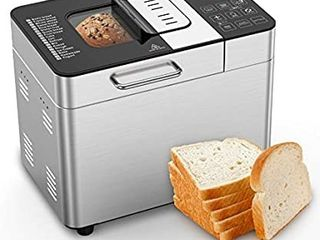MOOSOO Bread Maker with Automatic Fruit Dispenser  Stainless Steel Bread Machine 2lB 18 in 1 Digital Breadmaker with DIY Home Made Function  8 Deluxe Accessory kits