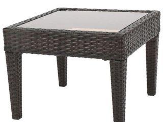 Multi Brown Square Wicker Outdoor Accent Table
