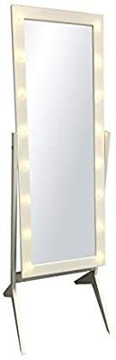 Ehomeproducts White Finish led lights Wooden Cheval Bedroom Floor Mirror Stand