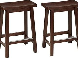 Classic Solid Wood Saddle Seat Kitchen Counter Stool W Ft Plate 24  Walnut