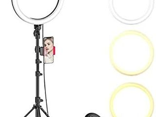 10  Selfie Ring light with Adjustable Tripod Stand   Phone Holder for live Stream Makeup  Dimmable led Camera Beauty Ringlight for YouTube TikTok Photography Compatible for iPhone and Android Phone