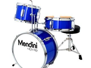 Mendini by Cecilio 13 inch 3 Piece Kids Junior Drum Set with Throne  Cymbal  Pedal   Drumsticks  Royal Blue Metallic  MJDS 1 BB2