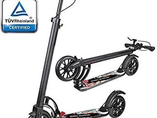 besrey Kick Scooter for Adults Teens with Hand Brake 220 lbs Max load  Foldable Kick Scooter with 200mm Big Wheels and Shoulder Strap for Age 8 Year Up