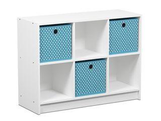 FURINNO Basic Bookcase Storage Shelves  White light Blue