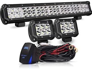 20 Inch lED light Bar 126W Spot Flood Combo lED Bar 2PCS 4Inch Spot Pods Cubes with Rocker Switch Wiring Harness for Ford Polaris GMC Chevy ATV