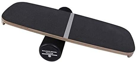 Houseables Balance Board  Core Trainer  29a x 11a  1 Pk  Black  Wood  Plastic  Roller Balancing Boards  Skateboard Training  for Abs  Exercise Equipment  Workout  Ankle Strengthening Therapy  Fitness