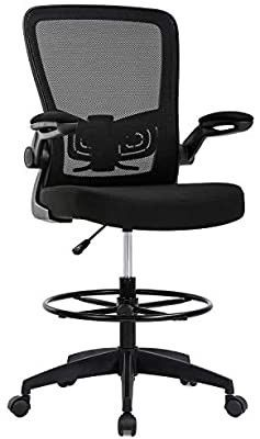 Drafting Chair Tall Office Chair Adjustable Height with lumbar Support Flip Up Arms Footrest Mid Back Task Mesh Desk Chair Computer Chair Drafting Stool for Standing Desk  Black