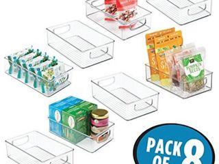 mDesign Plastic Kitchen Pantry Cabinet  Refrigerator or Freezer Food Storage Bins with Handles   Organizer for Fruit  Yogurt  Snacks  Pasta   Food Safe  BPA Free  6  Wide  8 Pack   Clear