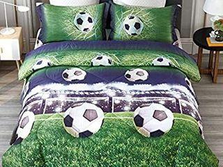 ENJOHOS Special 3D Soccer Bedding Twin Football Comforter Set for Kids Cool Duvet lightweight Bedroom Decor Bed Comforter Set