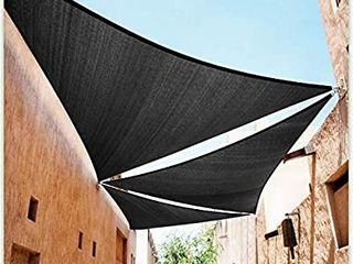 ColourTree 32  x 32  x 32  Black Sun Shade Sail Triangle Canopy Awning Shelter Fabric Cloth Screen   UV Block UV Resistant Heavy Duty Commercial Grade   Outdoor Patio Carport