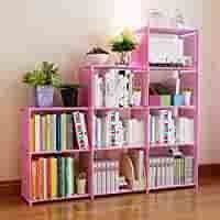 Hosmat 9 Cube DIY Children s Bookcase 30 inch Adjustable Bookshelf Organizer Shelves Unit  Folding Storage Shelves Unit  Pink 9 Cubes