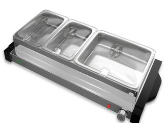 NutriChef Hot Plate Food Warmer Triple Buffet Server Chafing Dish Set  Portable Countertop Stainless Steel Electric Warming Tray w  3 Section 1 6  3 2 Qt Serving Containers  lids  large  Black