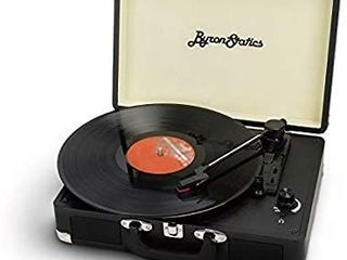 Byron Statics Vinyl Record Player  3 Speed Turntable Record Player with 2 Built in Stereo Speakers  Replacement Needle  Supports RCA line Out  AUX in  Headphone Jack  Portable Vintage Suitcase