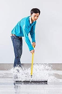 Alpine Industries Heavy Duty Dual Moss Floor Squeegee with 50 Handle   Industrial Grade Soft Foam Replacement Head for Cleaning Wet   Dry Concrete  Wood   Tile Floors  22 in