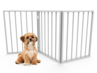 Fodable  Free Standing Wooden Pet Gate  light Weight  Indoor Barrier for Small Dogs   Cats by PETMAKER  White  24 Inch Step Over Doorway Fence