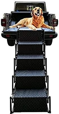 Upgraded Pet Dog Car Step Stairs  Accordion Metal Frame Folding Pet Ramp for Indoor Outdoor Use  lightweight Portable Auto large Dog and Cat ladder for Cars  Trucks and SUVs Cargo  Couch and High Bed