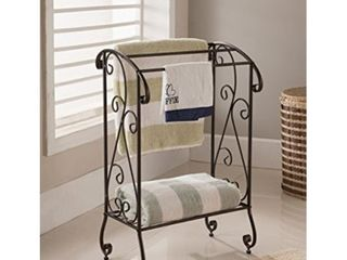 Kings Brand Furniture   Coffee Brown Metal Free Standing Towel Rack Stand with Shelf