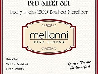 Mellanni Bed Sheet Set   Brushed Microfiber 1800 Bedding   Wrinkle  Fade  Stain Resistant   4 Piece  Queen  Tan