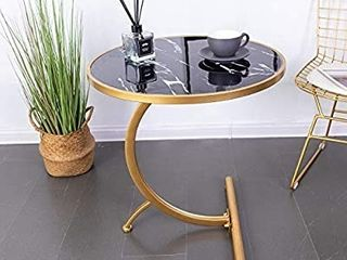 HuiDao Round Side Table C Shaped Wooden Marble Texture Finish End Table Coffee Table for living Room Bedroom Small Spaces Office Bed Sofa Couch  22 D  x24 H