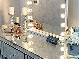 Hansong large Vanity Makeup Mirror with lights Hollywood lighted Mirror with 15 pcs Dimmable led Bulbs for Dressing Room   Tabletop Mirror or Wall Mounted