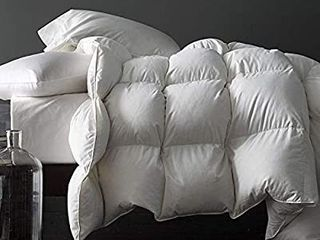 Royoliving Premium Silver Down Comforter King Size Solid White 100  Egyptian Cotton Cover Down Proof Winter Duvet Insert with Corner Tabs  70 Oz