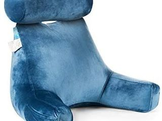 Bed Rest Reading Pillow   Bedrest Pillows with Arm Rests and Neck Roll for Reading Watching TV in Bed  Floor or Sofa   Big Bedrest Pillow with Neck Roll Pillow  Navy