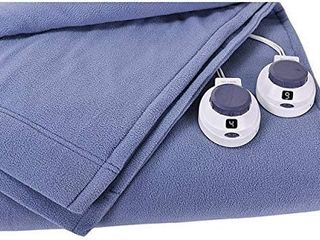 SoftHeat by Perfect Fit   luxury Fleece Electric Heated Blanket with Safe   Warm low Voltage Technology  Queen  Slate Blue