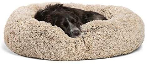 Best Friends By Sheri Calming Shag Vegan Fur Donut Cuddler  30x30 Medium   Taupe