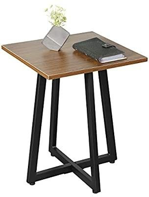 JJS Modern End Side Table Nightstand  Stylish Wood Accent Table for living Room Bedroom  Strudy and Easy Assembly  Gary Walnut