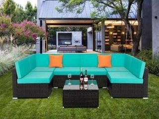 1 piece  Gereja outdoor Rattan Sectional Sofa Piece by Havenside Home  Turquoise