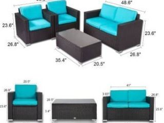 BOX 1 of 2  Kinbor Outdoor Patio Furniture Set Wicker Chat Set Sectional Sofa w  Cushions