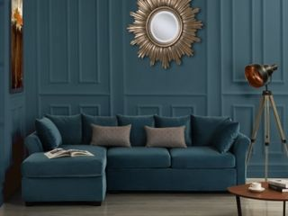 BOX 1 of 2  low Profile Sectional Sofa with left Facing Chaise  Velvet Retail 722 49