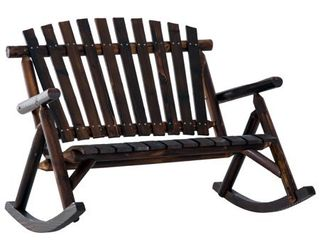 Outsunny 2 Person Fir Wood Rustic Outdoor Patio Adirondack Rocking Chair Bench Retail 184 49