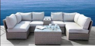Corner with cushions only  Chelsea Grey Wicker Sectional Outdoor Sofa Set