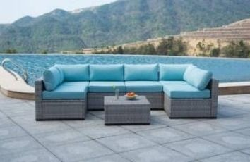 BOX 2 of 3  Only 2 pieces  Broyer sectional patio outdoor Brown and blue