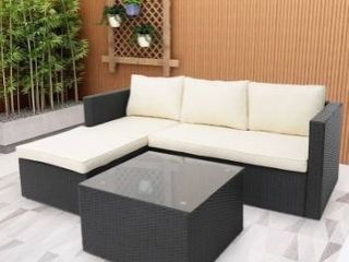 Rattan wicker outdoor couch  no hardware  no sides  no legs  or cushions