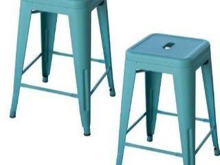 loft teal 24 inch metal bar stool 2 piece