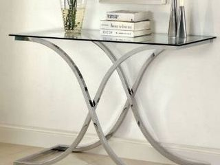 Silver Orchid Olivia modern three piece chrome accent table  legs only  Missing top