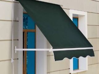 Outsunny 4  Arm Manual Retractable Sun Shade Patio Window Awning with large Shade Area   Smooth Opening Crank  Green