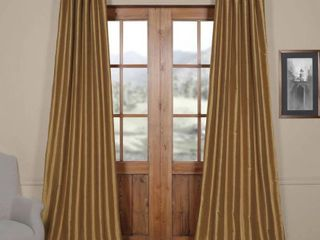 Exclusive Fabrics Flax Gold Vintage Textured Silk Single Curtain Panel   50 X 108