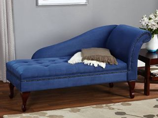 Simple living Blue Chaise lounge with Storage Box 2  Retail 241 99  Hardware legs box and backrest only
