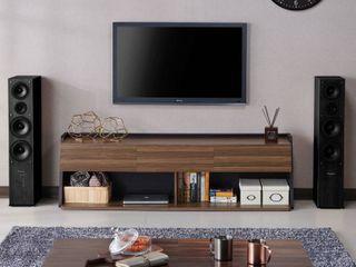 Furniture of America Taren Multi Storage TV Cabinet  73  light Walnut  Box 2 only
