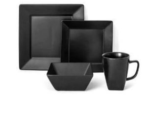 Over and BackAr Hard Square 16 Piece Dinnerware Set in Black