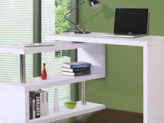 HomCom 75a l Shaped Writing Desk Rotating Desk Swivel Corner Home Office Study Desk   White  Three 43 25  shelves only