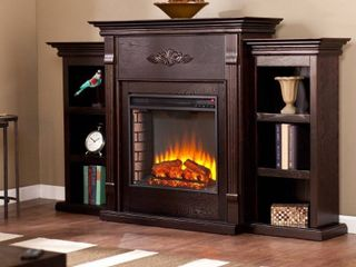 Gracewood Hollow Forbes 70 inch Espresso Electric Fireplace  Brick Accent Firebox Retail 636 99  Fireplace Mantle only no side bookcases
