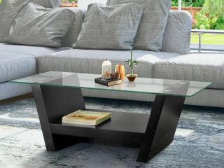 Furniture of America leef Contemporary Black Arched Coffee Table  Top only