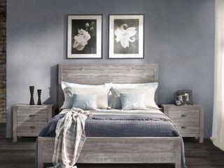 Grain Wood Furniture Montauk Full size Solid Wood Panel Bed   Rustic Grey