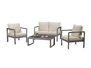 BroyerK Aluminum Outdoor Patio Furniture Set Wooden Armrests  Armrests only