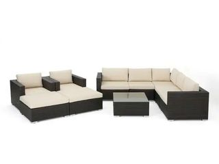 Santa Rosa Outdoor Wicker Sectional Sofa Set by Christopher Knight Home   Brown  Right chair only