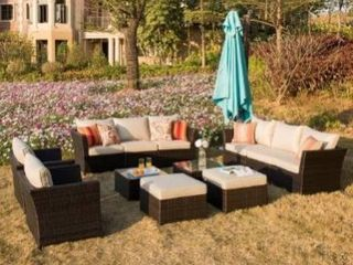 Ovios Patio Furniture Outdoor Wicker Sunbrella Sectional Set  1 chair only